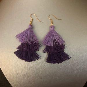 NEW Purple Tassle Dangle Earrings